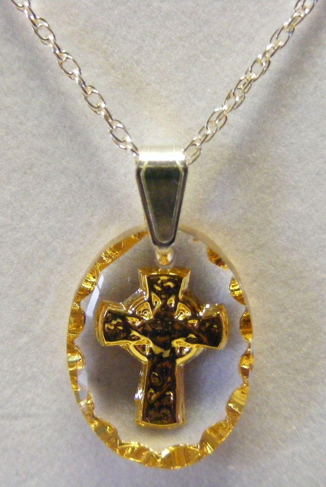 Hand painted oval Celtic Cross Crystal Pendant - Gold