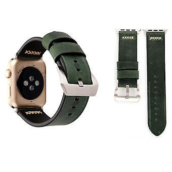 Echt-Leder Armband für Apple Watch Serie 1 / 2 / 3 42 mm Grün