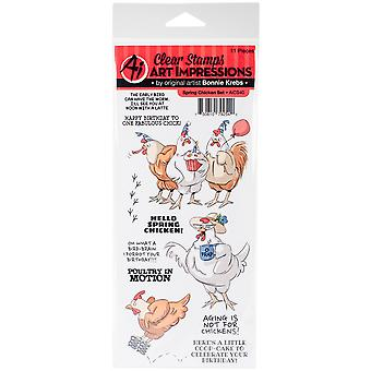 Art Impressions Funny Farm Cling Rubber Stamp-Spring Chicken