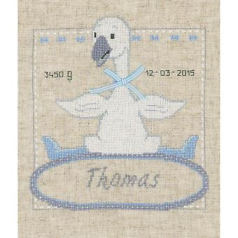Goose With Bow Birth Record On Aida Counted Cross Stitch Kit-9