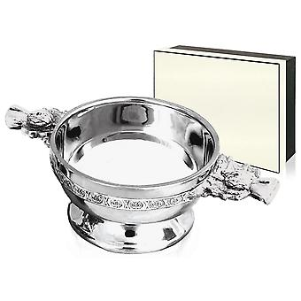 Scottish Thistle Handle Pewter Quaich - 4