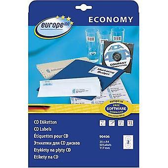 Europe 100 CD labels 90406 Ø 117 mm Paper White 50 pc(s) Permanent Smearproof Inkjet, Laser