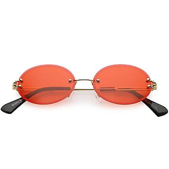 Randlose ovale Sonnenbrille schlank metallarmen Farbe getönt Neutral Objektiv 54mm