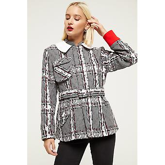 Cubic Patterned Belted Jacket