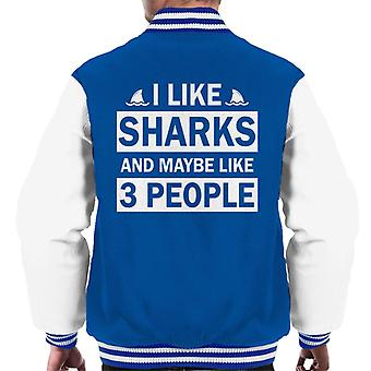 I Like Sharks And Maybe Like 3 People Slogan Men's Varsity Jacket
