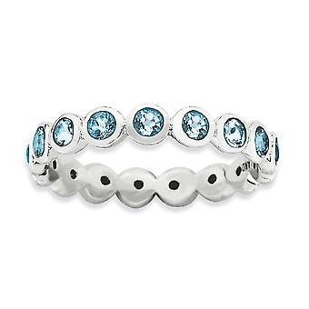 3,5 mm plata bisel pulido expresiones apilable-rodio de marzo cristal anillo - tamaño del anillo: 5 a 10