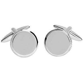 David Van Hagen Shiny cerchio martellata bordo gemelli - argento
