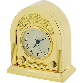 Geschenk-Zeit Produkte der fünfziger Jahre Miniatur Funkuhr - Gold