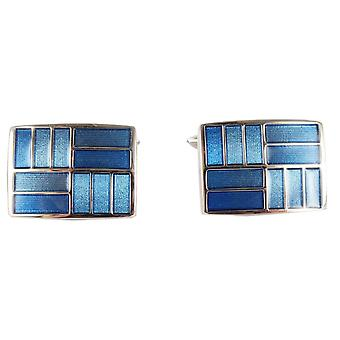 David Van Hagen 2-Tone Rectangle Cufflinks - Blue