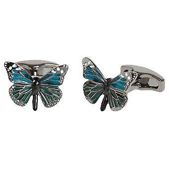 Simon Carter English Country Garden Butterfly Cufflinks - Blue/Jade Green/Silver