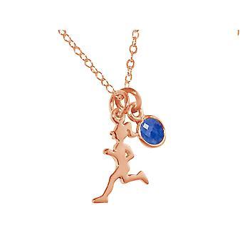 Gemshine Fitness Halskette Runner in 925 Silber, hochwertig vergoldet oder rose im Sportschmuck Sport-look Jogger Stil mit blauem Saphir – Made in Madrid, Spain