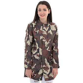 Ladies Long Sleeve Popper Zip Up Lightweight Shower Proof Camo Jacket Coat