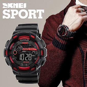 SKMEI Mens Large Display Digital Watch Resin Strap Black And Red Stopwatch Alarm DG1243