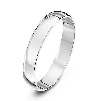 Stjärniga bröllop ringar 9ct vitguld ljus D form 3mm vigselring