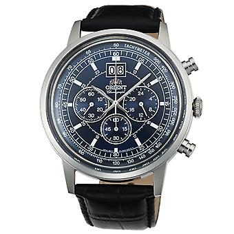 Orient men's modern watch with genuine leather strap chronograph silver
