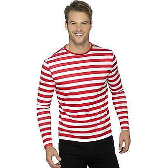 Stripete t-skjorte, rød, med lang erme