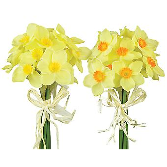 7 Mini Fabric Daffodils Bunch for Spring Crafts
