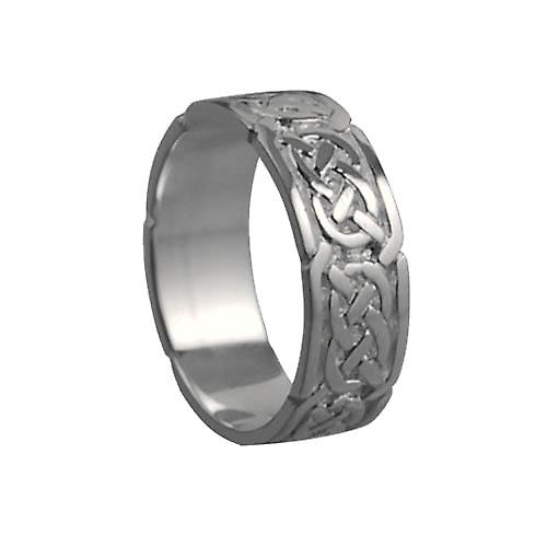 18ct White Gold 6mm Celtic Wedding Ring Size Q