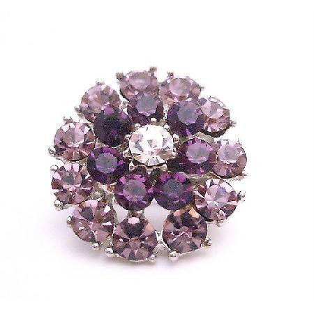 Pretty Amethyst & Lite Amethyst Crystals Brooch Shinning Prom Jewelry