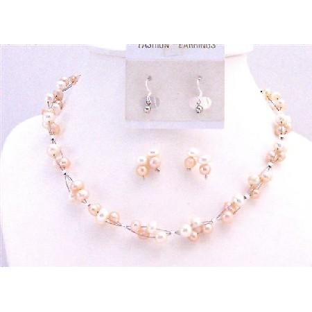 Peach & Ivory Freshwater Pearl Jewelry Set Multi Strand Sterling Silver Earrings
