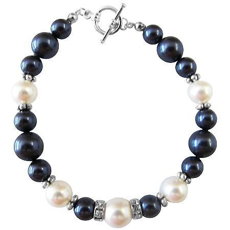 Fine Swarovski Pearls & Silver Rondells Toggle Clasp 7 inches Bracelet