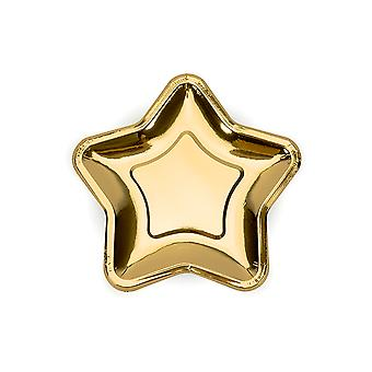 6 Small Metallic Gold Star Shaped Paper Party Plates