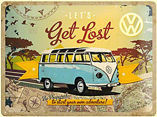 VW Volkswagen Camper Let's Get Lost large embossed metal sign  (na 4030)