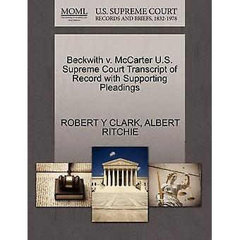 Beckwith v. McCarter U.S. Supreme Court Transcript of Record with Supporting Pleadings by CLARK & ROBERT Y