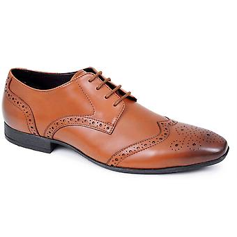 Mens Leather Brogue Shoes Lace Up Office Work Suit Wedding Formal Dress