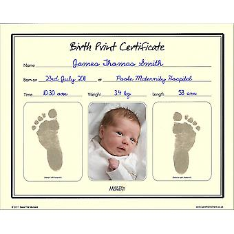 Save The Moment Inkless Footprint Birth Certificate, Baby Foot Print Keepsake