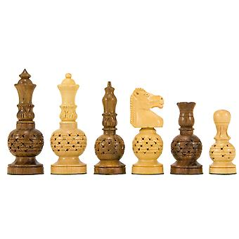 Mogul Fretwork Hand Carved Golden Rosewood Chess Pieces