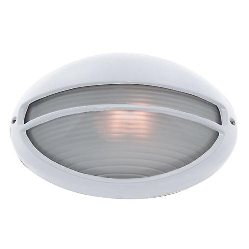 Searchlight 5544WH Outdoor White Oval Aluminium Bulkhead With Opal Glass IP44 Rated