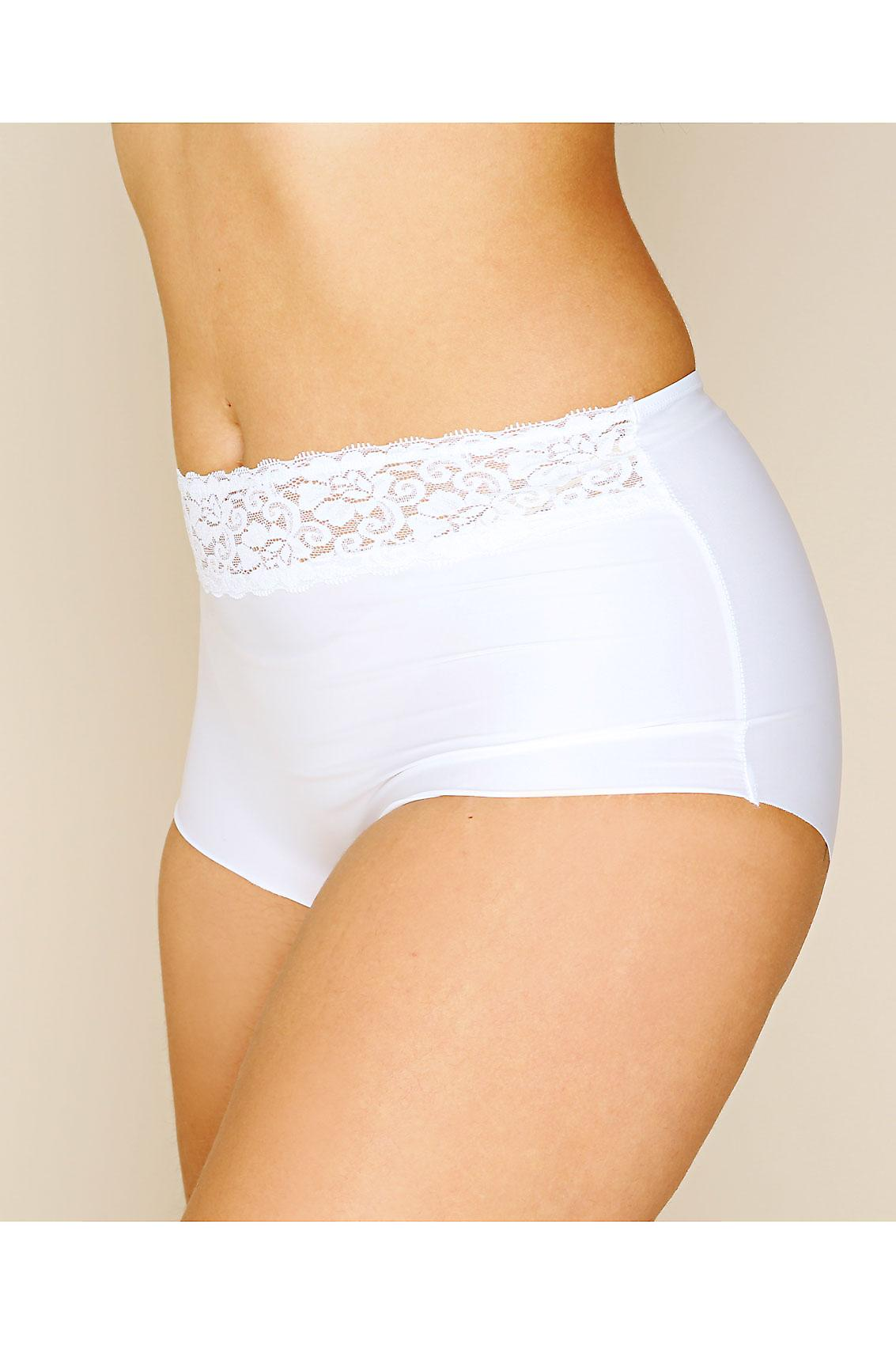 White No VPL Brief With Lace Waist Trim
