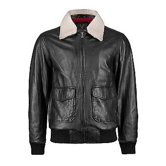 Removable Fur Collar Black Aviator Jacket Union Jack Lining