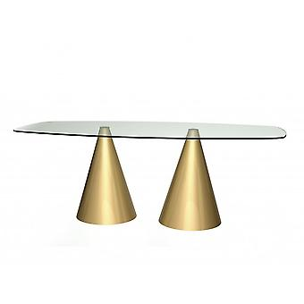 Gillmore Space Rectangular Clear Glass Dining Table With Conical Brass Base