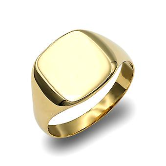 Jewelco London Herren solide 9ct Gelbgold Platz Kissen Siegel ring