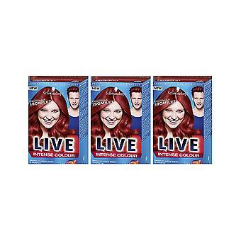 Schwarzkopf LIVE Intense 033 Scandalous Scarlet Pro Perm Hair Colour Dye 3 For 2