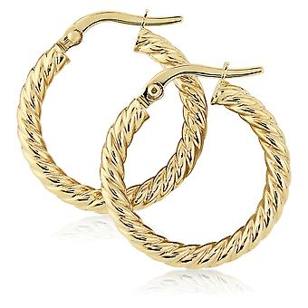 Jewelco London Ladies 9ct Giallo Oro Corda Twisted Round Hoop Orecchini - 15mm
