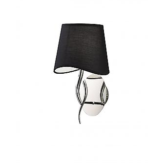 Mantra Ninette Wall Lamp 1 Light E14, Chrome poli avec ombre noire