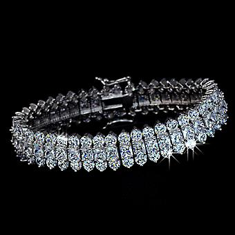 3 Rows AAA+ Swiss Cubic Zirconia Paved Bracelet, 18.5 cm length