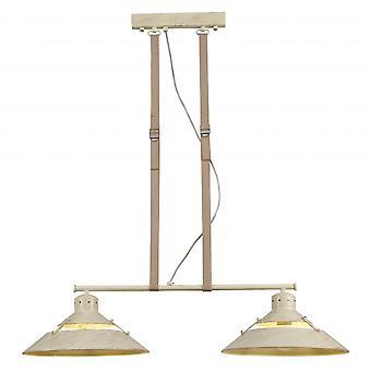 Mantra Industrial Ceiling 2 Light 2x40W E27, Sand Metal, Beige Belt