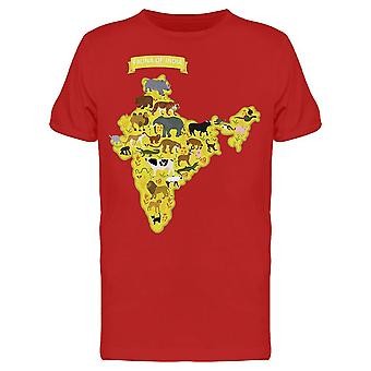 Map Of India With Animals Tee Men's -Image by Shutterstock