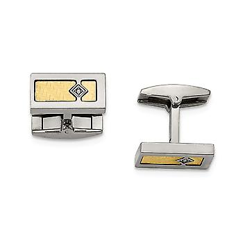 Stainless Steel With 18k Polished Textured Diamond Cuff Links - .03 dwt
