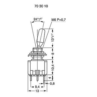 Toggle switch 125 Vac 6 A 1 x (On)/Off/(On) Miyama MS 500-BC-E momentary/0/momentary 1 pc(s)
