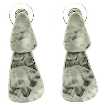 Kenneth Jay Lane Hammered Silver Triangle Drop Earrings