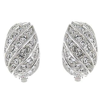 Clip On Earrings Store Silver & Clear Crystal Semi Hoop Clip On Earrings