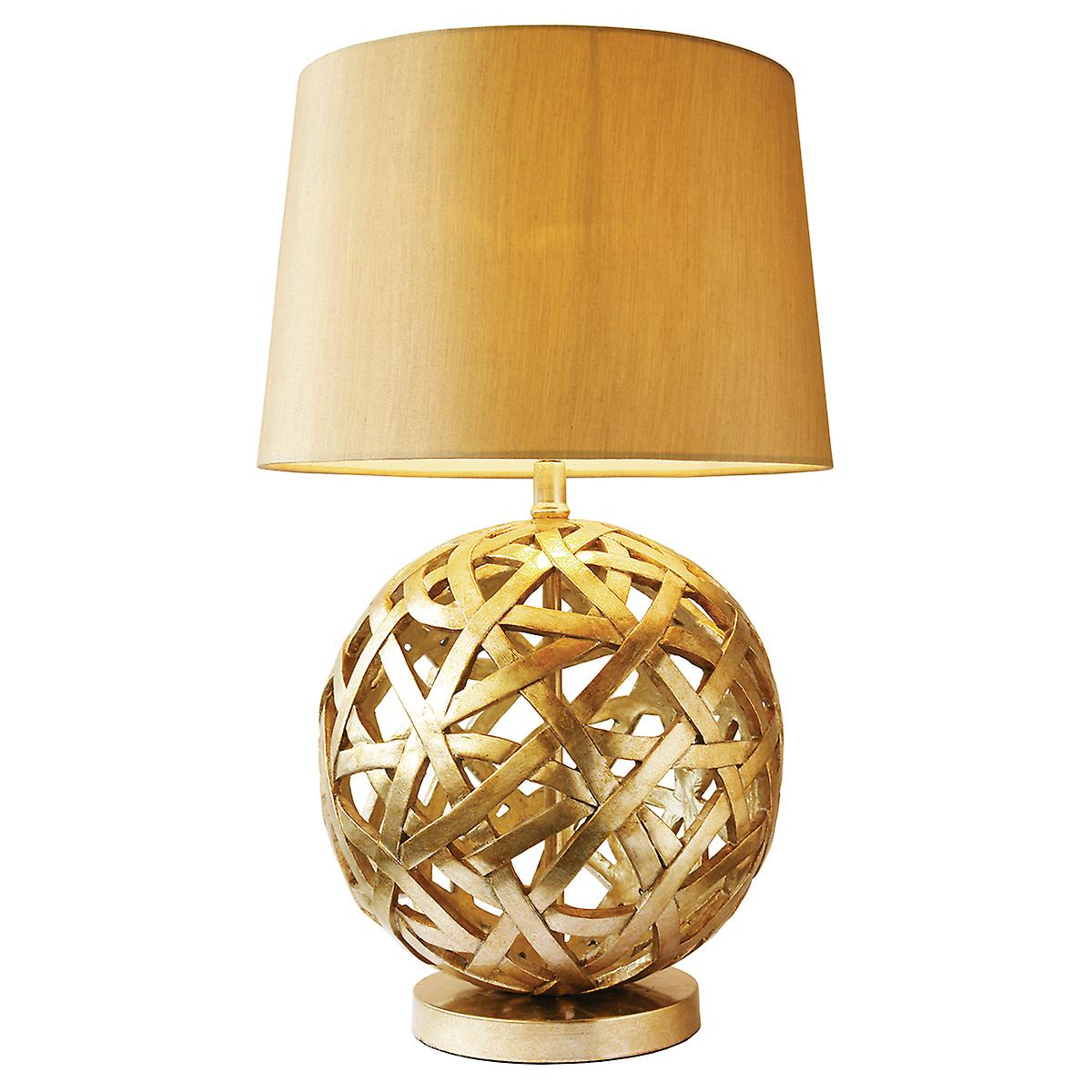 Dar BAL4263 Balthazar Hand Cast Resin Table Lamp With Cream Faux Silk Shade