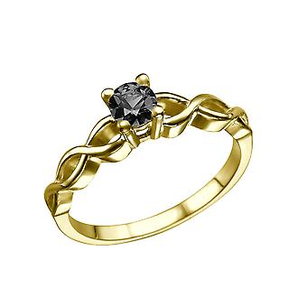 0.50 CT 14K Yellow Gold Black Diamond Ring Twisted Braided Unique