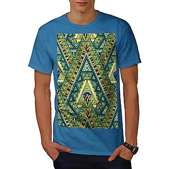 Tribal Stylish Pattern Men Royal Blue T-shirt | Wellcoda