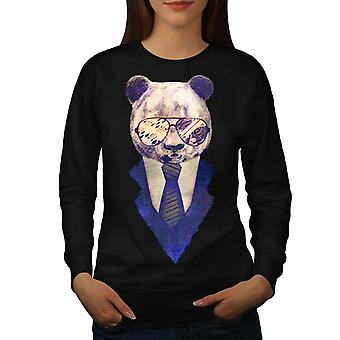 Businessman Panda Women Black Sweatshirt | Wellcoda